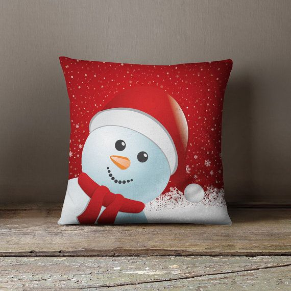 Christmas Snowman Pillow  Christmas Decoration  by wfrancisdesign