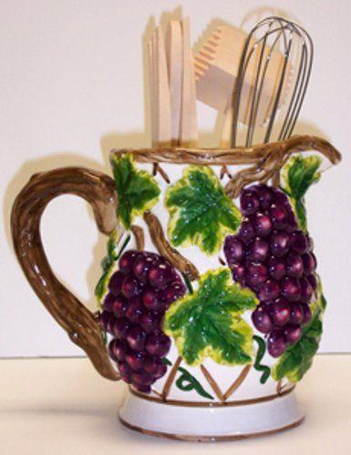 Grape Wine 3D Tool Set 7pc Utensil Holder Kitchen