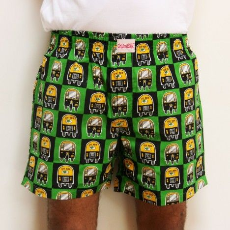 Autos on Boxers :) In Green. Eco Friendly :) Awesome. Comfy :) http://www.chumbak.com/apparel/boxer-shorts/mens/pop-auto-boxer-green-boxer-short.html
