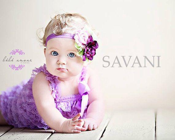 Baby girl romper,3 pcs lavender romper, headband and clip on a sash. Petti Romper Set.Lace Petti Romper Photo Prop,Flower girl lace outfit,
