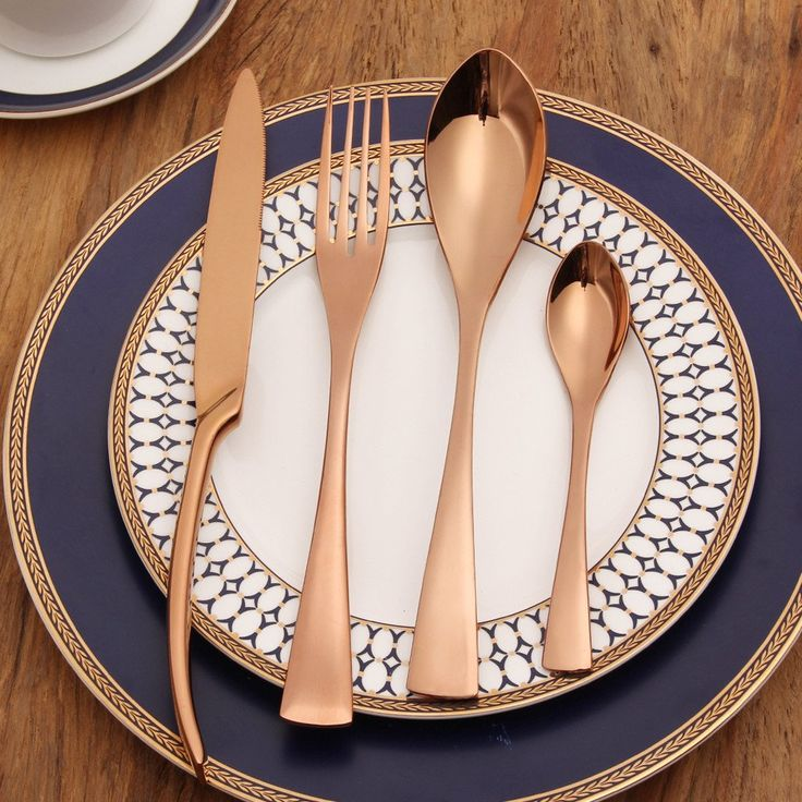 25 best rose gold flatware ideas on pinterest porcelain copper cutlery and cutlery. Black Bedroom Furniture Sets. Home Design Ideas