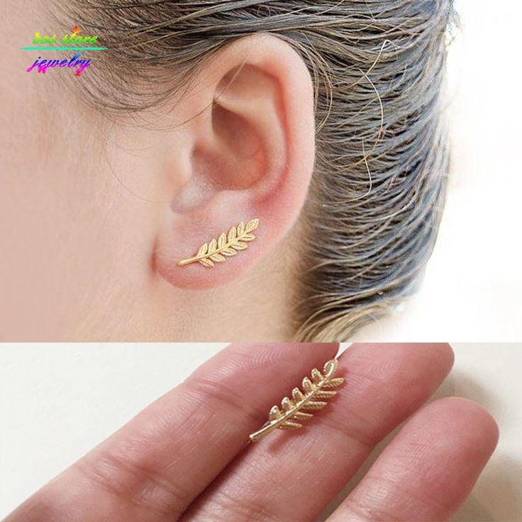2016 New Brief Mori Girl Forest Montre Femme Gold Tone Leaf Stud Earrings For Women Bijoux