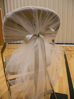 DIY tulle chair covers, could hopefully cover all chairs for under fifty bucks!