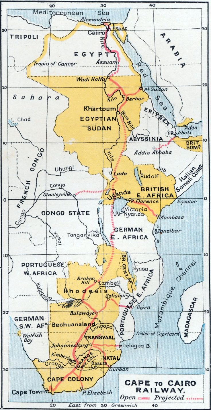 Cape to Cairo Railway 1907 #map #rail #transit #africa