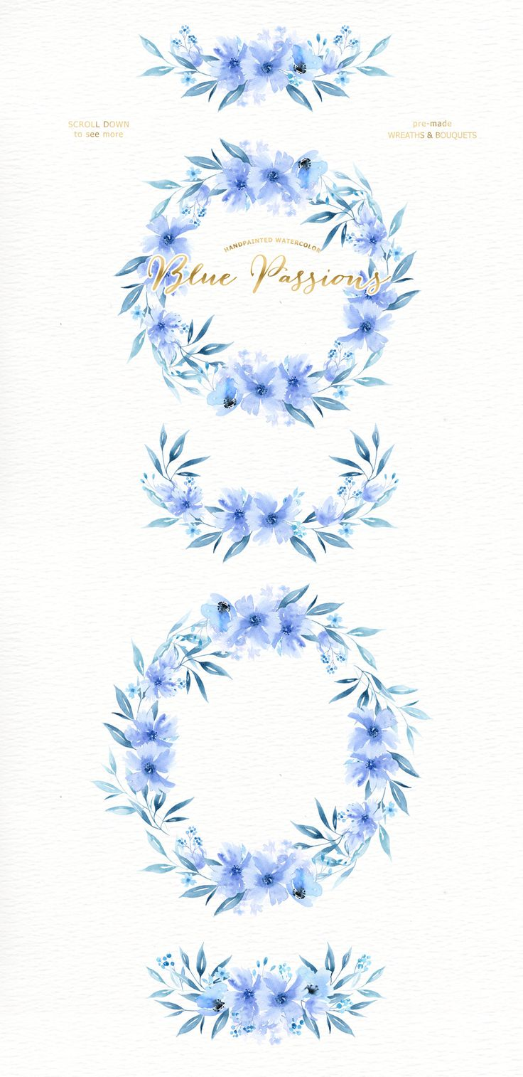 Blue Passions Watercolor clipart, wreath, branch ...