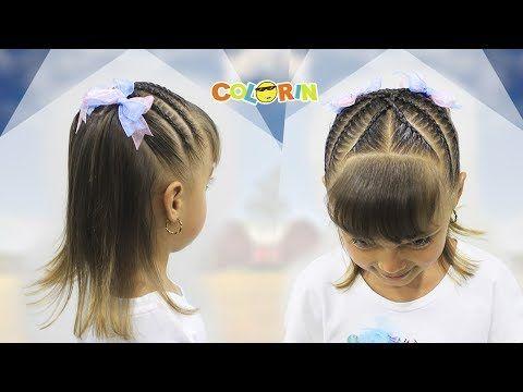 Peinados para niñas con ligas arcoiris  y trenzas pegadas Peinados fáciles y rápidos  para niñas LPH - YouTube