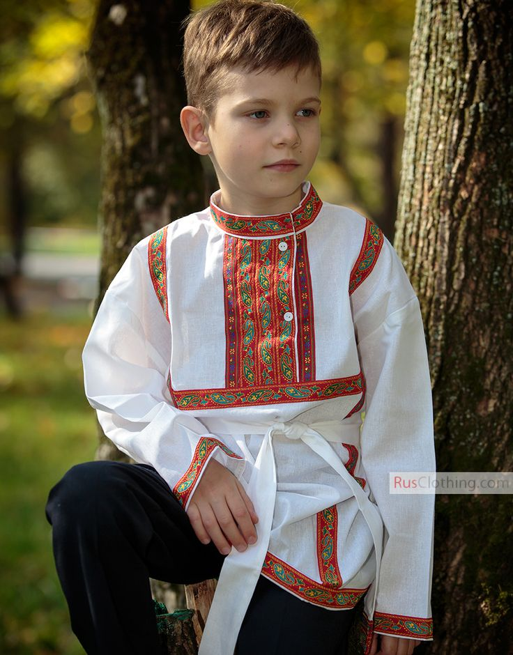Kosovorotka is a traditional Russian shirt from old Slavic times. Highlighted with stylish embroidered ribbon at the collar and chest along two sides. Russian shirt can be worn with or without belt. Ethnic touch will add special charm to your boys look. This Russian shirt is individually made, not factory mass produced. Different colours are available for any performances. #cotton #shirt #russian #embroidery