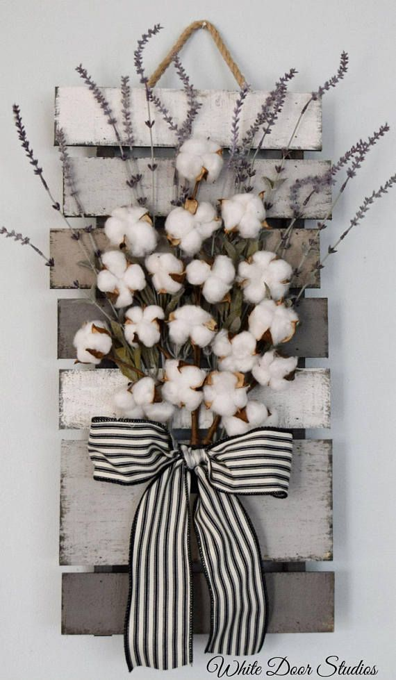 Farmhouse Cotton and Lavender Pallet Style Wall Decor – Best Selling Original Design by White Door Studios – #Cotton #Decor #Design #Door #Farmhouse