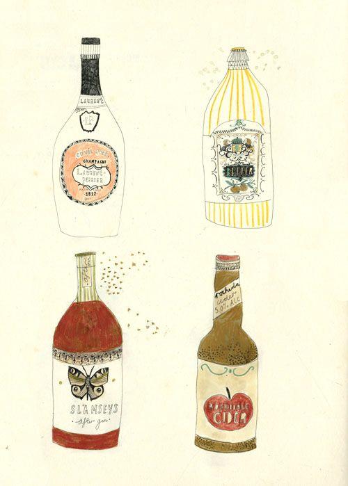 Drawing bottles.