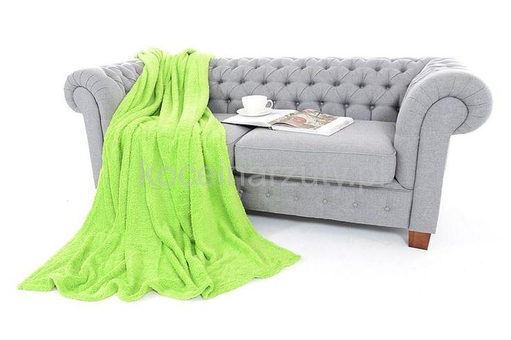 Modny koc w kolorze jasnozielonym
