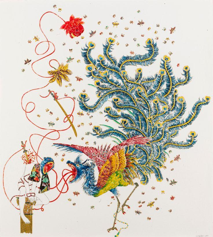 Raqib Shaw Death, Beaut and Justice Pittura industrial, cristalli & glitter su carta spessa  2007 cm. 83x75