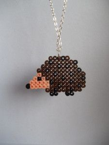 Hama perler fused bead hedgehog woodland necklace pendant