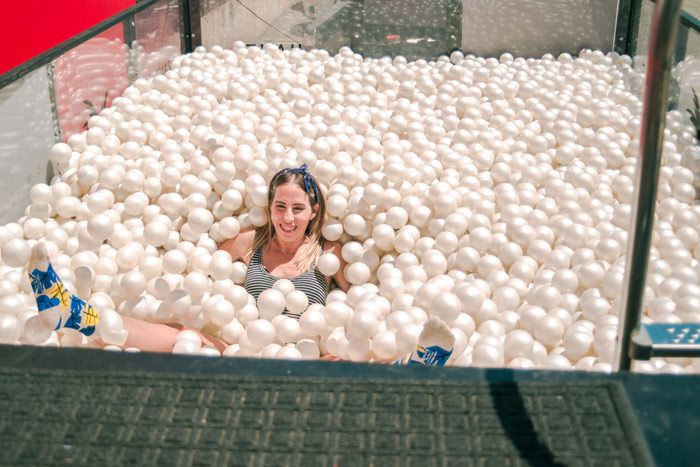 Attendees could take a break in the ball pit, which was provided by sock company Richer Poorer.