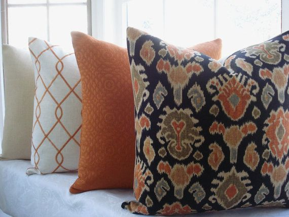 Decorative Designer Pillow Cover - IKAT- Designer Fabric -Throw Pillow-20x20--Linen -Blue-Orange-Green-Gold- Black - Cream via Etsy