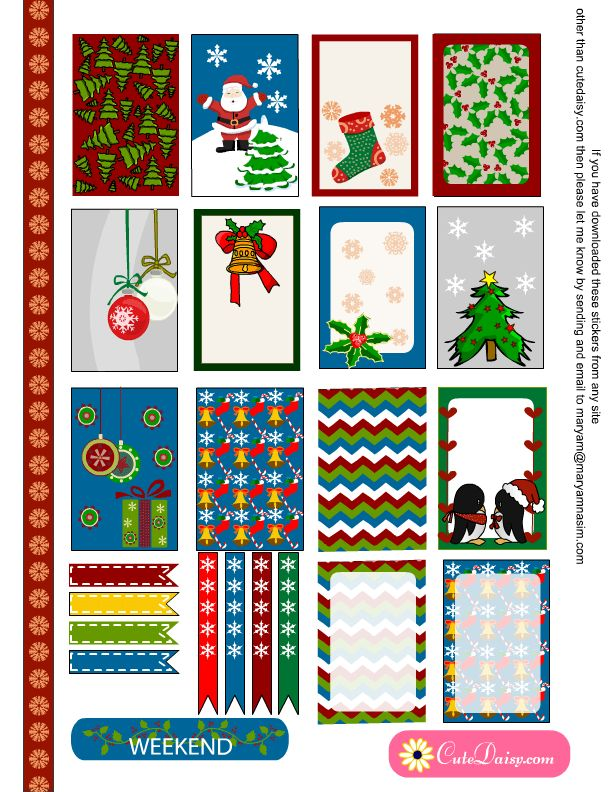 free printable Christmas stickers for Erin Condren and Happy Planner boxes