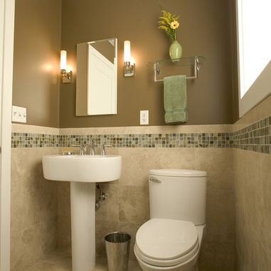 Love The Tile Work, Mirror, Sconces For The Half Bath. Contemporary Bathroom  By Julie Williams Design