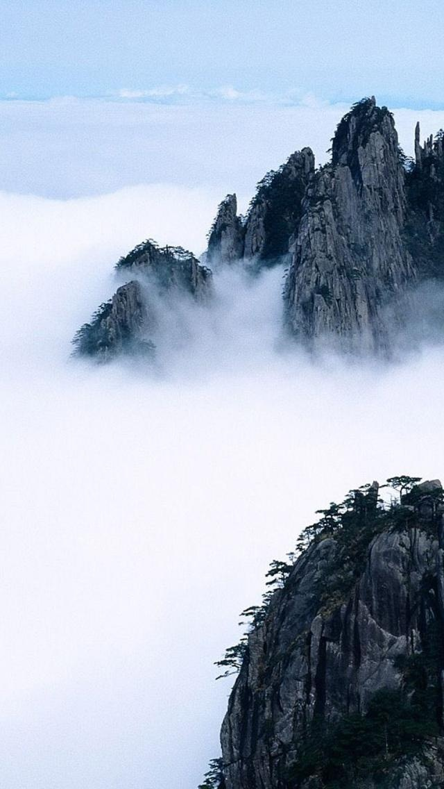 Sacred Mountains of China so beautiful. More cloud than at my sunrise visit.
