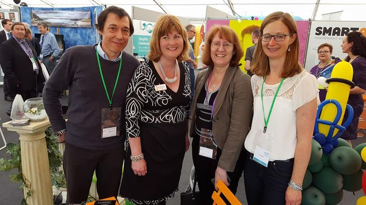 Ruth from The Paella and Tapas Co and Caroline from @simonshieldcars Ltd with Caron and Ángel from Arcape catching up at the Anglia Business Exhibition 2016 in Ipswich, Suffolk.  Photo courtesy of Simon Shield Cars