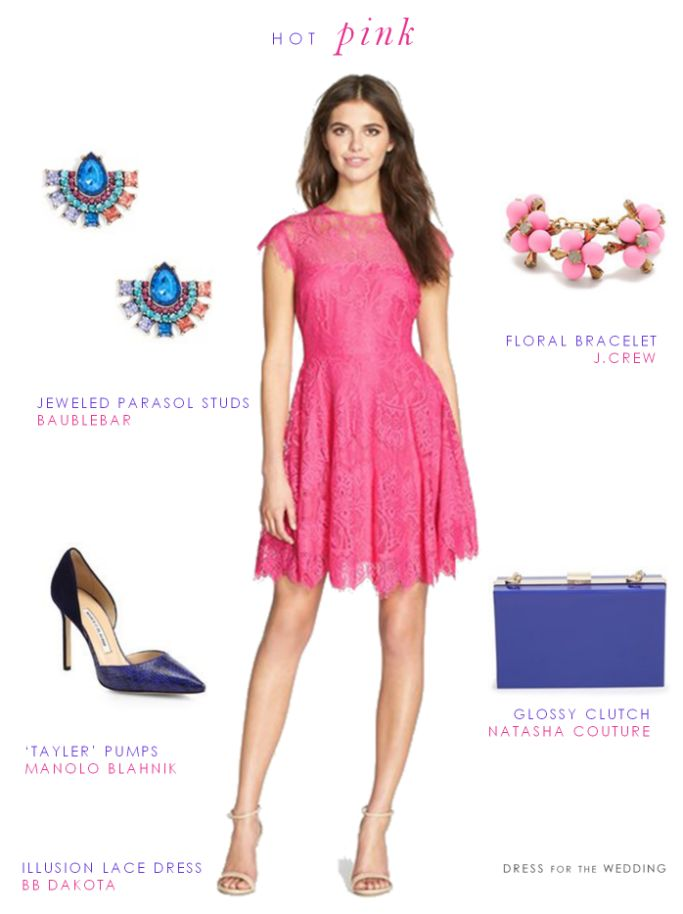 Pink wedding guest outfit