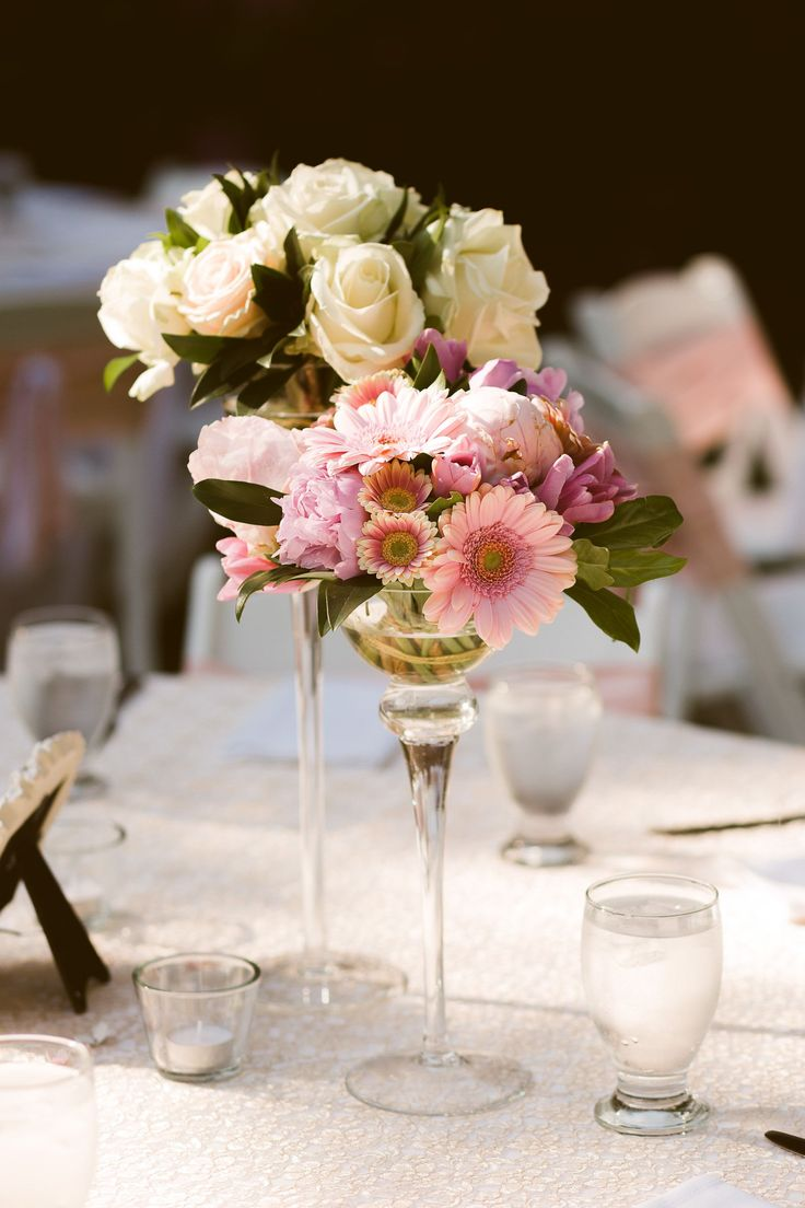 Ivory Rose and Pink Gerbera Daisy Centerpieces