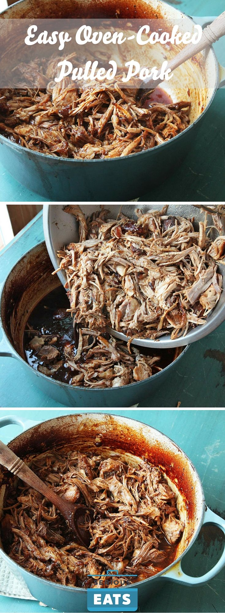 Moist and flavor-packed pulled pork from the oven.