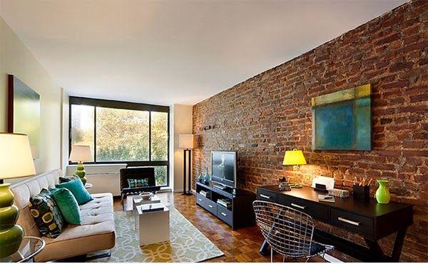 D coration salon avec des murs en briques d coration salon d cor de salon - Decoration brique interieur ...