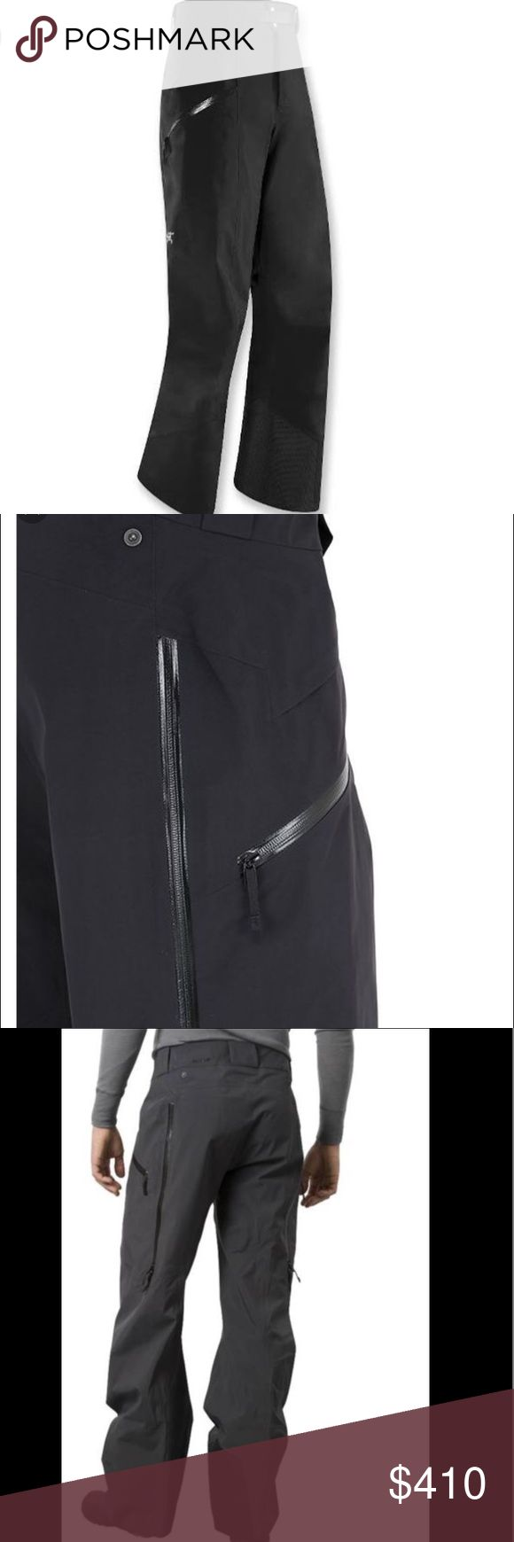 Men's Arc'terxy Sabre Ski Pants (Gortex) Gift for my fiancé for Christmas- Worn twice- too small. Won't accept for return since worn. Gore-Tex® pants combine a relaxed fit with clean lines. Waterproof, breathable N80p-X 3-layer Gore-Tex fabric is strong and water-repellent Soft flannel backer adds light warmth Fly with snap; removable belt and belt loops Double WaterTight™ side zippers to vent Large-volume zippered thigh pockets with WaterTight zips Embedded RECCO® reflector can help speed…
