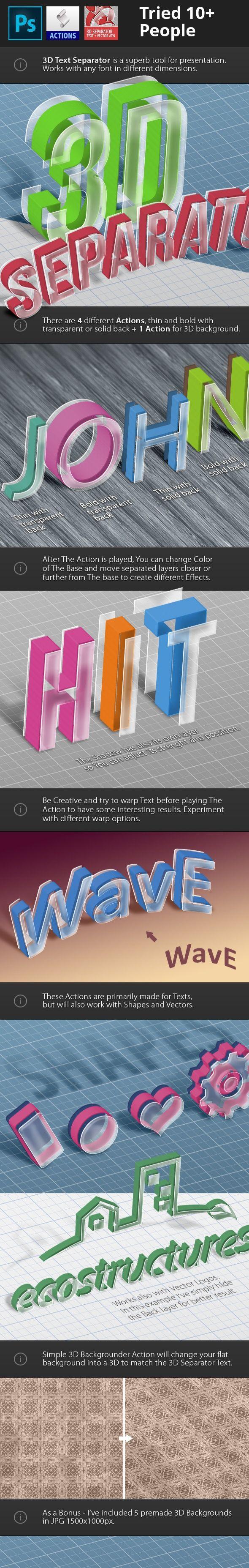 3d, 3d action, 3d atn, 3d background, 3d effect, 3d font, 3d logo, 3d maker, 3d mockup, 3d shapes, 3d text, 3d vector, action, glass effect, logo mockup, real 3d, separate, text action, transparent 3D Separator – Actions  New Generation of ATN Photoshop Actions are perfect for any kind of your project or presentation   3D Separator – Actions – Features   4 Different Separation Actions to choose from 2 different Weights with transparent or solid Back Layer 1 3D Background maker Action...