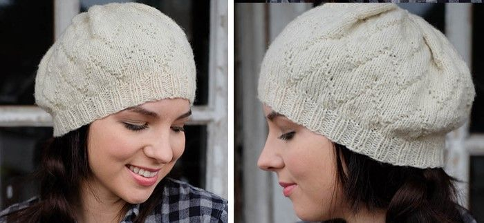 This lovely Audrey knitted hat is a stylish beret-style hat with a lovely chevron pattern. The knitting pattern is suitable for beginners.