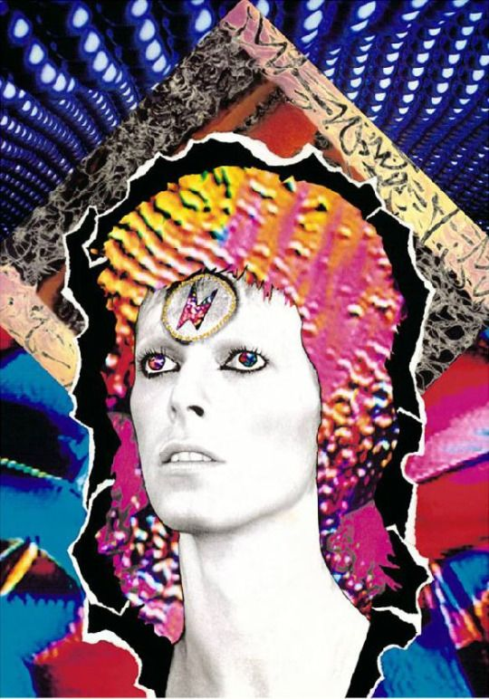 """David Bowie, """"Moonage Daydream"""" photo and collage by Mick Rock"""