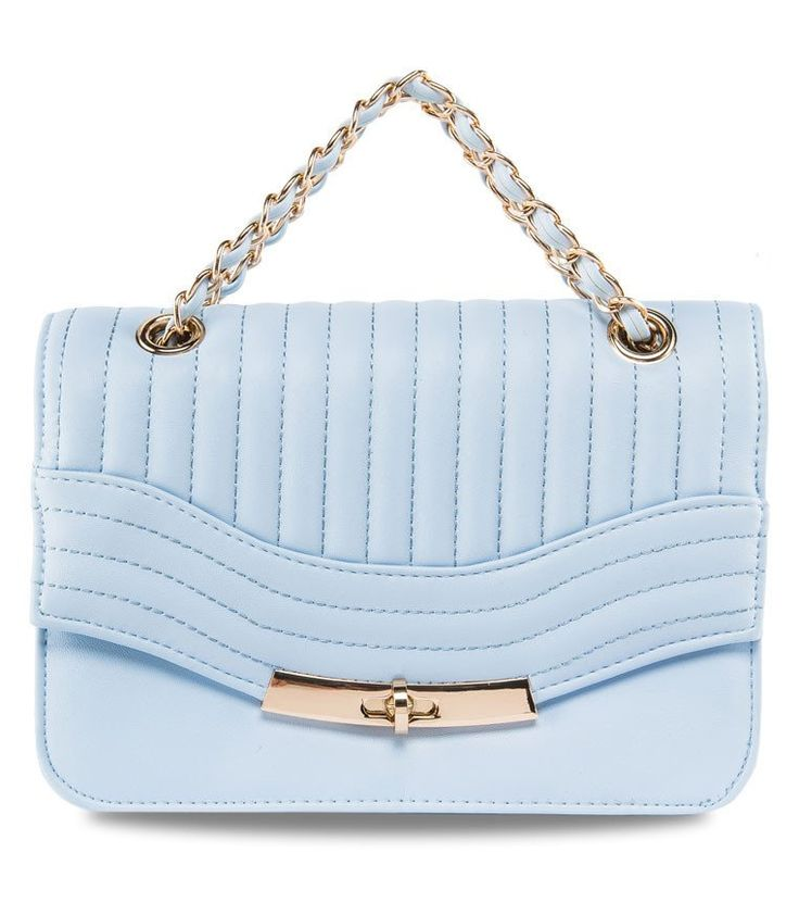 Panel Chain Strap Bag by New Look. Cute bag with stitching detail on the flap, with baby blue color, made from synthetic leather, turn lock closure, one main compartment, fabric inner lining, inner pocket, metal shoulder strap, and it has extra strap, length 29 cm.  http://www.zocko.com/z/JGjCk