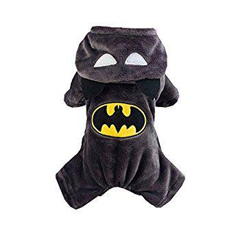 Pet Dog Puppy Winter Warm Superman Batman Hoodies Halloween Costume Boy Girl Jumpsuit Clothes Fleece Coat