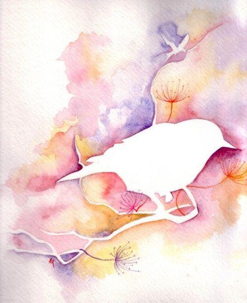watercolor bird love the negative space
