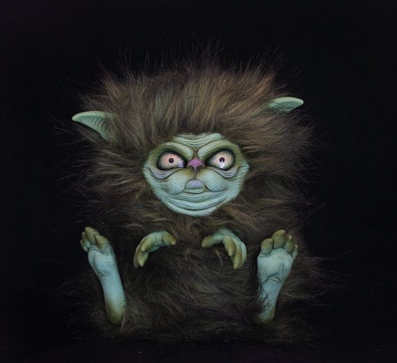 Fantasy Creature grumpy little monster Teddy Bear  plushie so cute handmade artist art doll sculpted fluffy furry animal cat sprite green