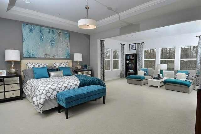 gray, white and pops of teal bedroom idea...