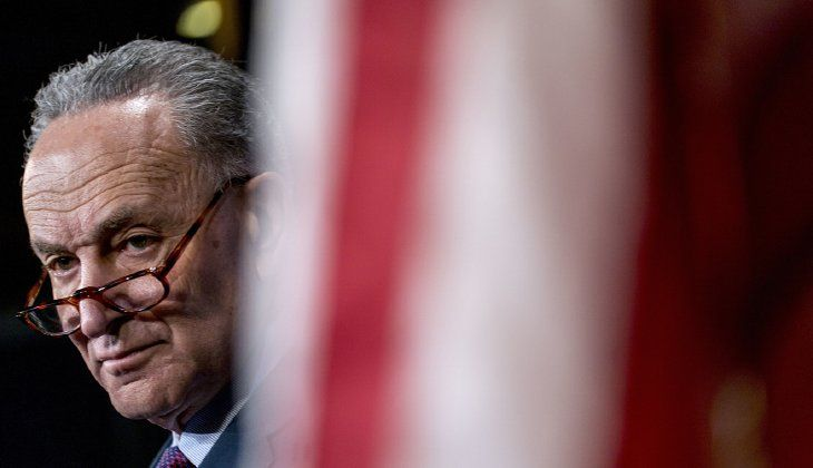 The caucus voted unanimously to march over to Minority Leader Chuck Schumer's office. (AP Photo/Andrew Harnik)
