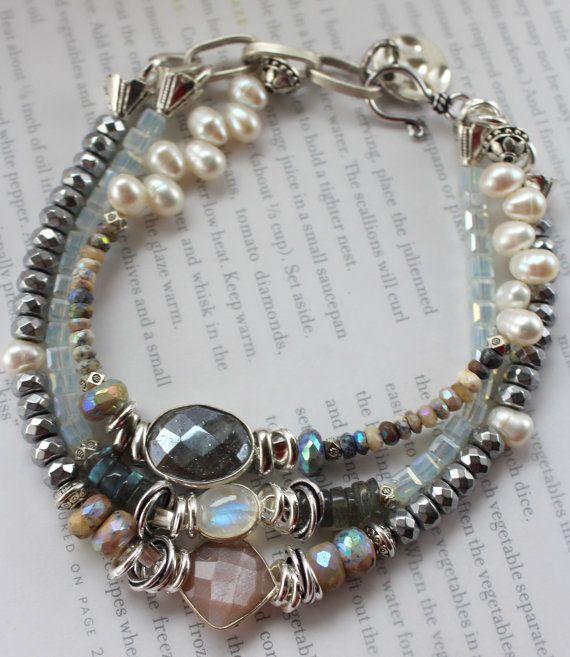 Pulsera VENTA pulsera de piedra de luna arco iris, pulsera labradorita, pulsera de piedra de luna rosa, boho chic pulsera, pulsera Bohemia, para ella