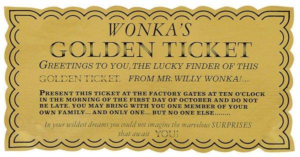 golden ticket willy wonka set school -