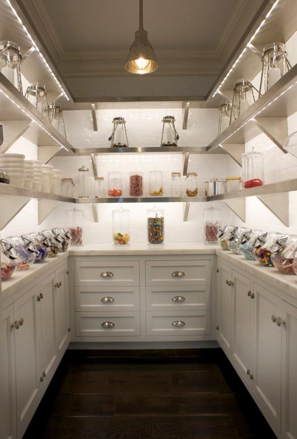 Love the lighted shelves and drawers for a pantry