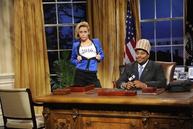 Miley Cyrus as Hillary Clinton, Kenan Thompson as Sway Calloway