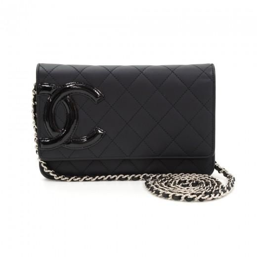 Chanel Cambon Black Quilted Leather Wallet On Long Shoulder Chain CF437