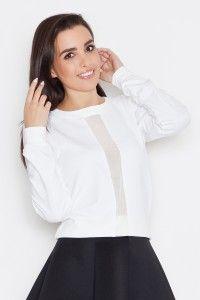 Stylowa bluza ze wstawką z przejrzystej siateczki K264 - ecru