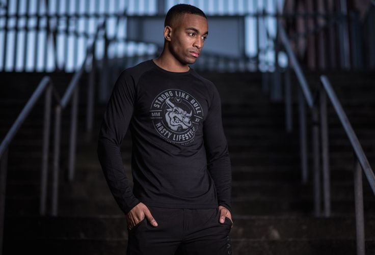 Fitted Long Sleeve Bull T-Shirt by Nasty Lifestyle.  Get yours today!  CrossFit Apparel, Gym Apparel, Fitness Apparel, Mens Lifestyle,