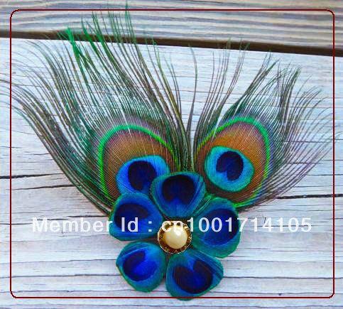Bruids-tovenaar-pauw-gratis-verzending-pauw-veer-bloem-haar-clip-met-ongeknipt-pauwenveren-10-stuks