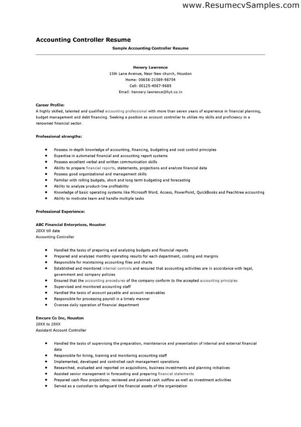 13 best Job Search images on Pinterest Resume examples, Resume - Controller Resume