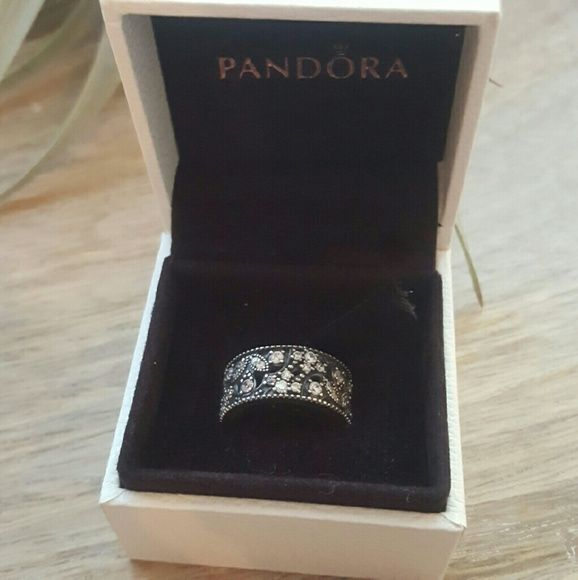 Pandora sterling silver ring clear CZ Shimmering Leaves ring. About a size 5.5 to 6, please see the second photo (left numbers are US sizes). Cubic zirconia and stamped sterling silver. So beautiful and in perfect condition! Comes with the original box.   Sadly now too small for my fingers (too much weight lifting). Pandora Jewelry Rings