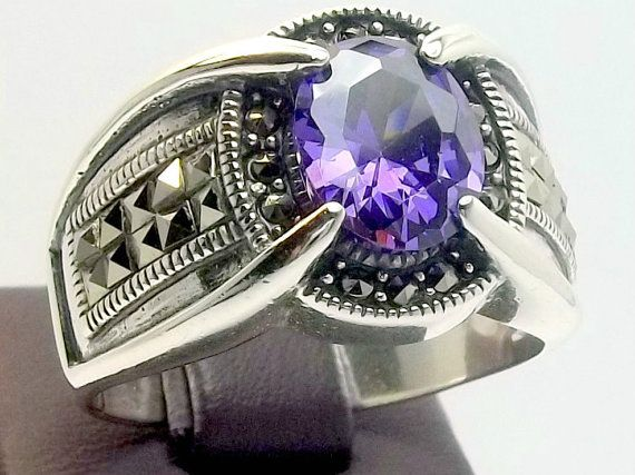925 Sterling Silver Men's Ring with Unique Real by lunasilvershop, $89.90