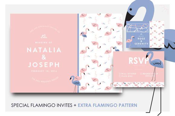 Beautiful flamingo wedding invites by Laffmate on Creative Market