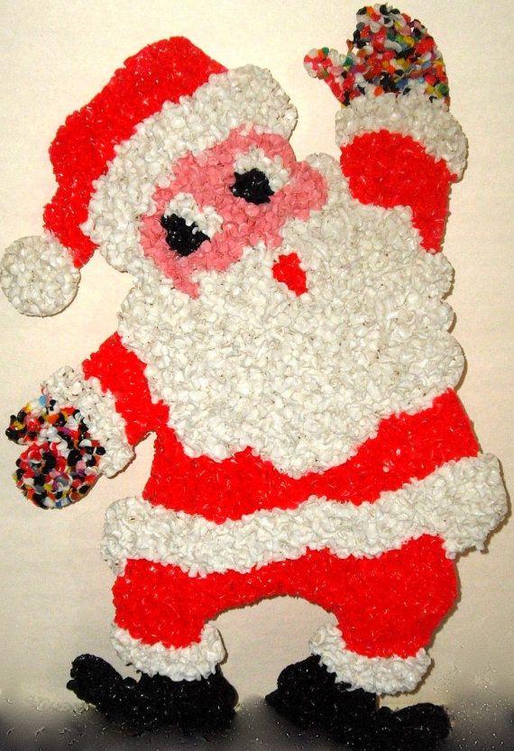 "1970s RARE Vintage Melted Plastic Popcorn Santa Claus Christmas Decoration 20"" tall"
