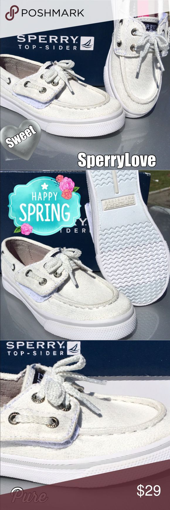 New Sperry for Little Girls Silver Sparkle  New Sperry boat shoe just so Fashion cute in silver sparkle... Little girls love them...Laces stayed tied because Velcro straps are used for easy in and off...These are precious!  Sperry Shoes Sneakers